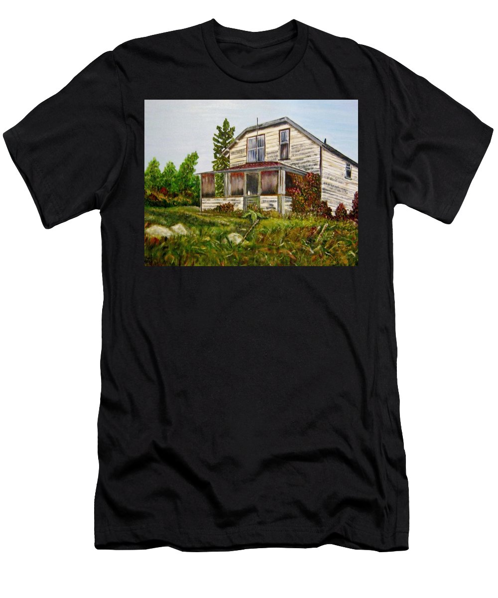 Quesnel Men's T-Shirt (Athletic Fit) featuring the painting This Old House by Marilyn McNish