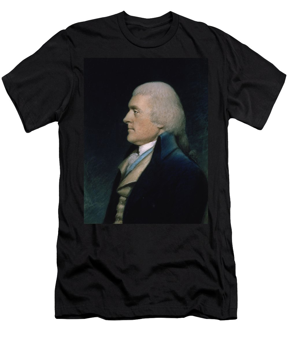 Thomas Men's T-Shirt (Athletic Fit) featuring the pastel Thomas Jefferson by James Sharples