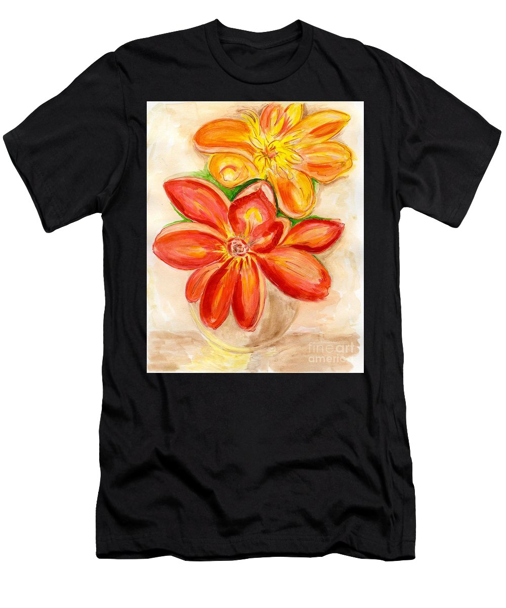 Orange Red Flowers Men's T-Shirt (Athletic Fit) featuring the painting Thoughtfulness by Anne Gitto