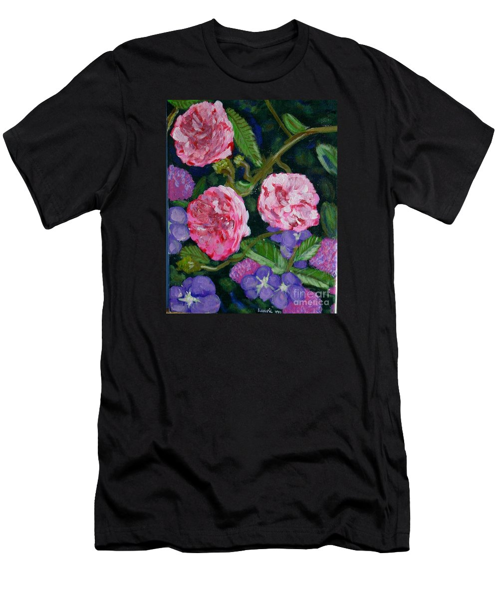 Roses Men's T-Shirt (Athletic Fit) featuring the painting Three For The Show by Laurie Morgan