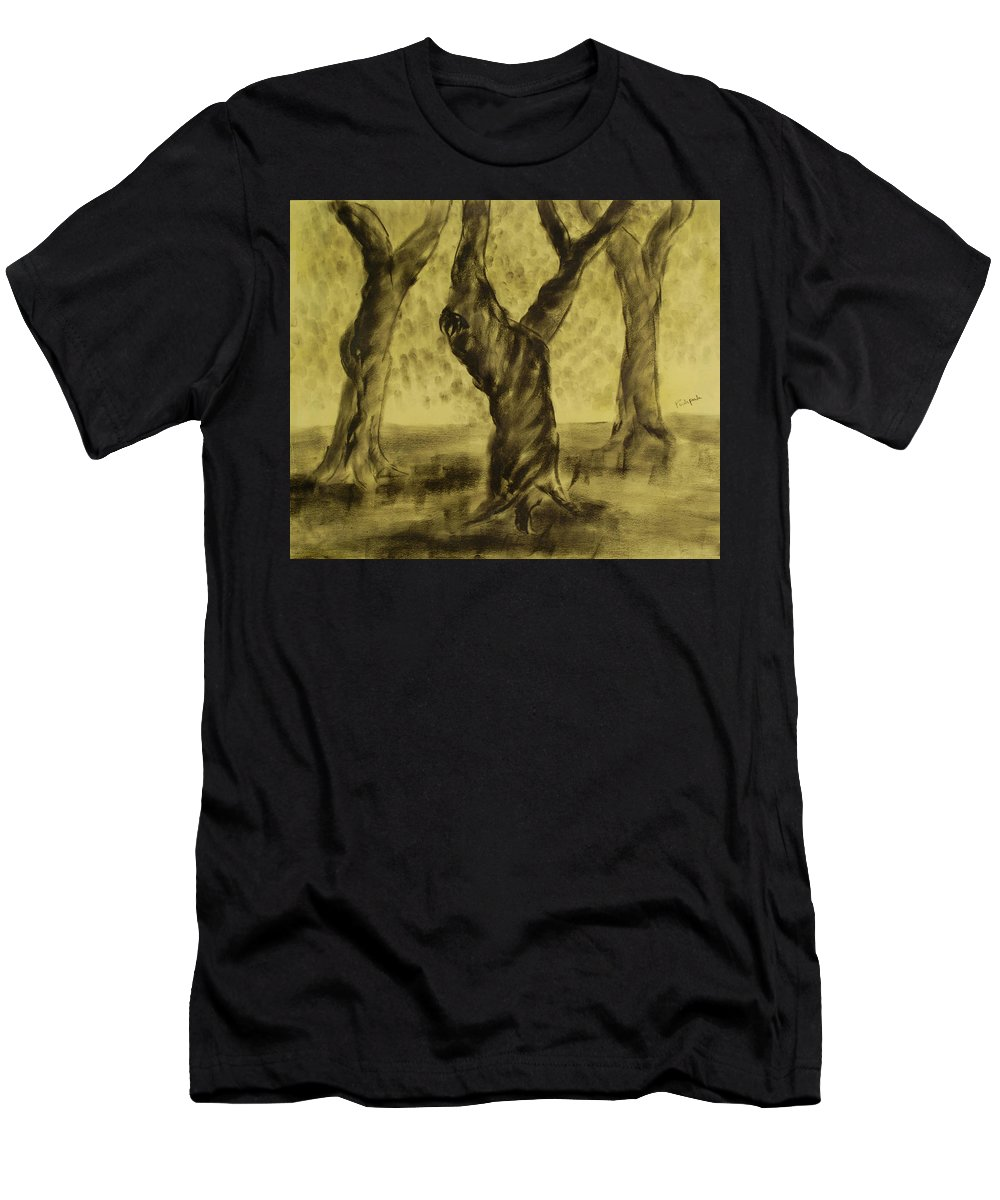 Trees Men's T-Shirt (Athletic Fit) featuring the painting Three Is As Tree Gets by Pushpak Chattopadhyay