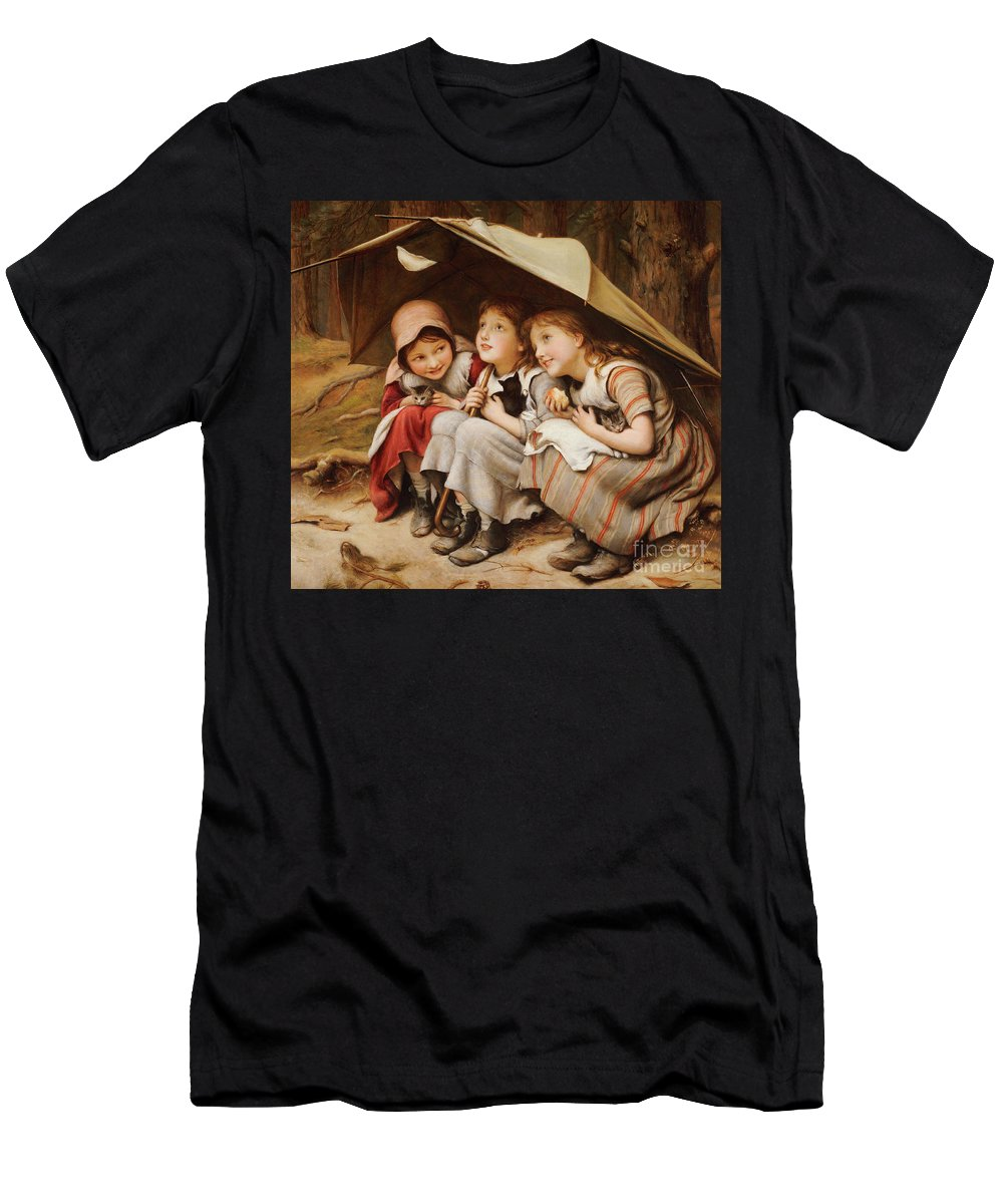 Kittens Men's T-Shirt (Athletic Fit) featuring the painting Three Little Kittens by Joseph Clark