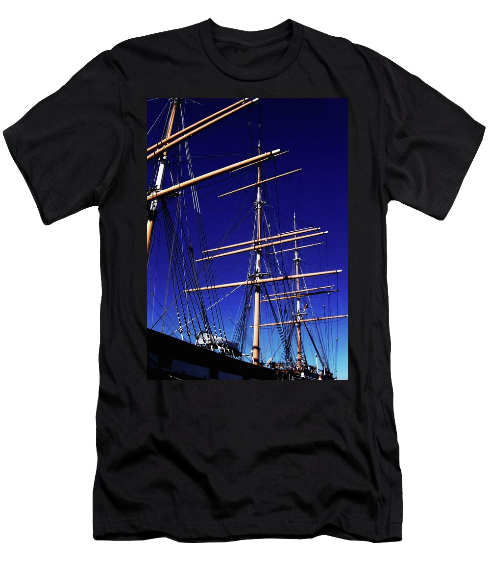 Ship Men's T-Shirt (Athletic Fit) featuring the photograph Three Mast Sailing Rig by Glenn Aker