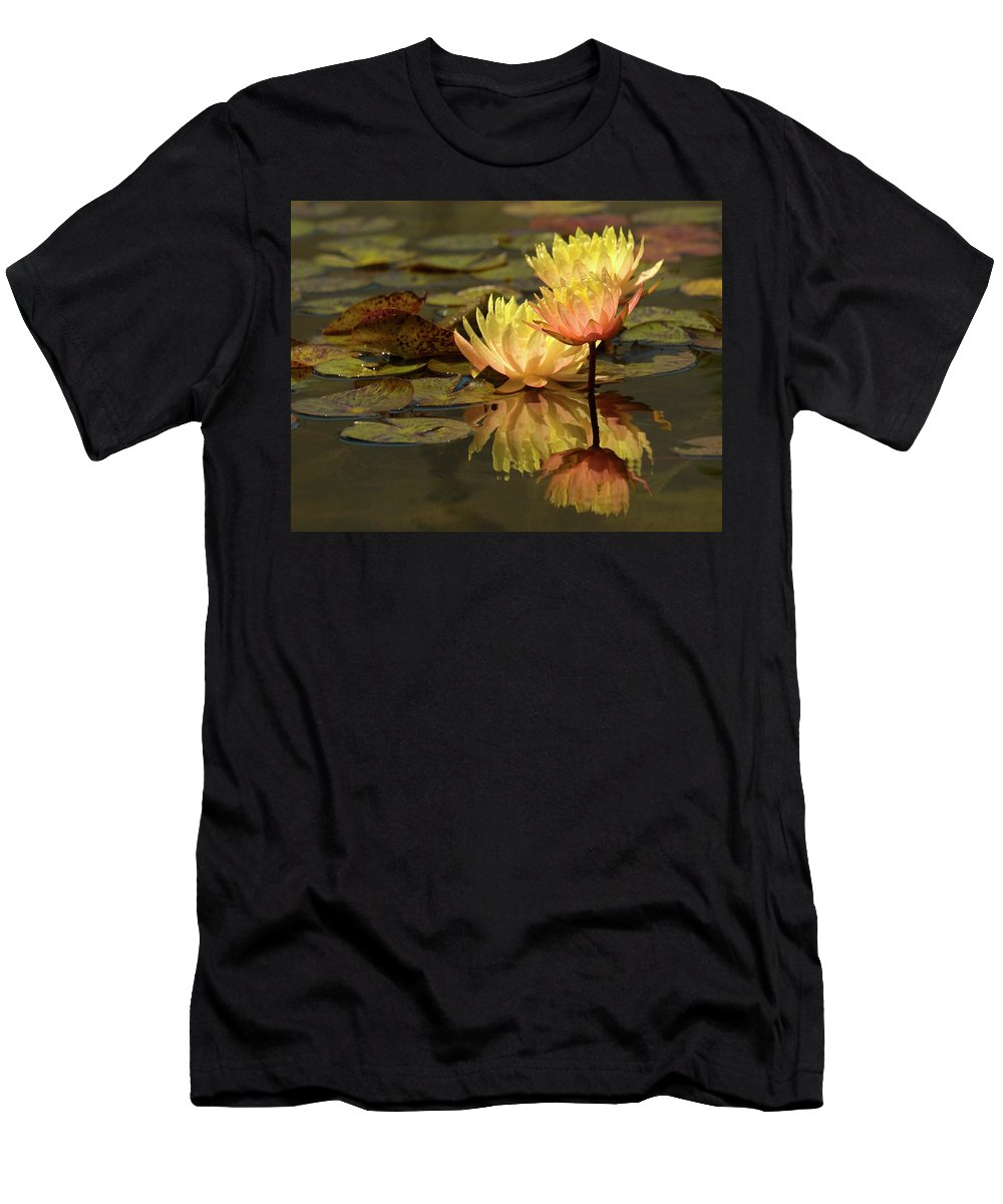 Water Lilies Men's T-Shirt (Athletic Fit) featuring the photograph Three Perfect Lilies by Mary-Ella Bowles