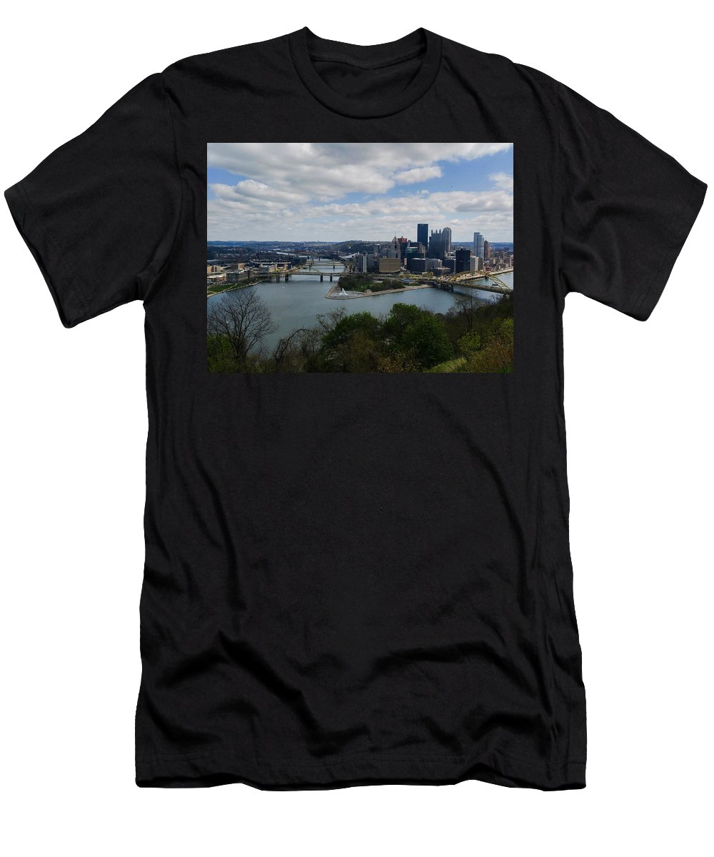 Pittsburgh Men's T-Shirt (Athletic Fit) featuring the photograph Three Rivers by Shelley Smith