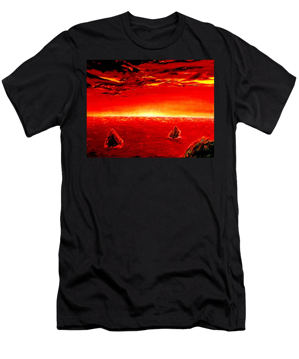 Seascape Men's T-Shirt (Athletic Fit) featuring the painting Three Rocks In Sunset by Mark Cawood