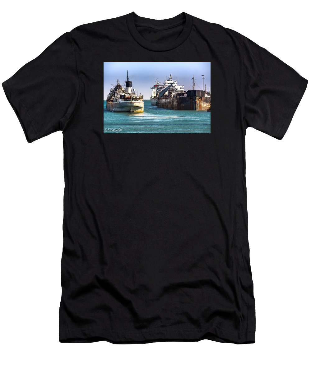 Calumet Harbor Men's T-Shirt (Athletic Fit) featuring the photograph Three Ships In The Harbor by Christine Douglas