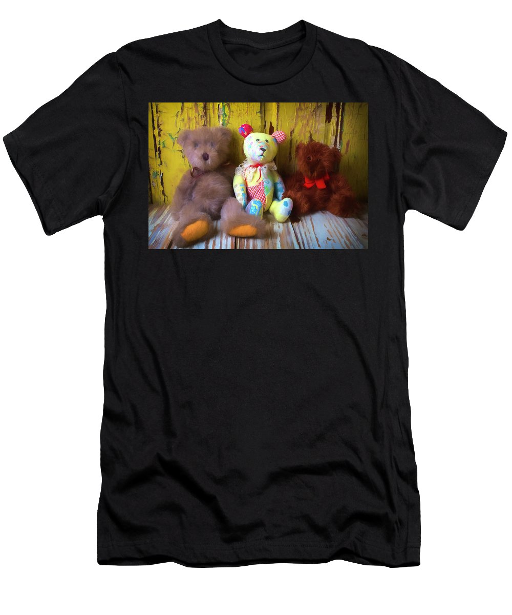 Teddy Bear Men's T-Shirt (Athletic Fit) featuring the photograph Three Special Bears by Garry Gay