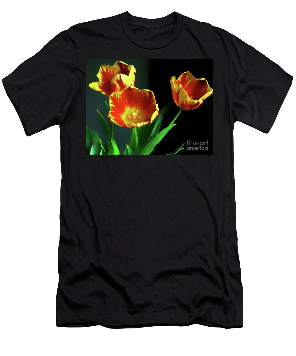 Three Tulips Photo Art Men's T-Shirt (Athletic Fit) featuring the photograph Three Tulips Photo Art by Sharon Talson