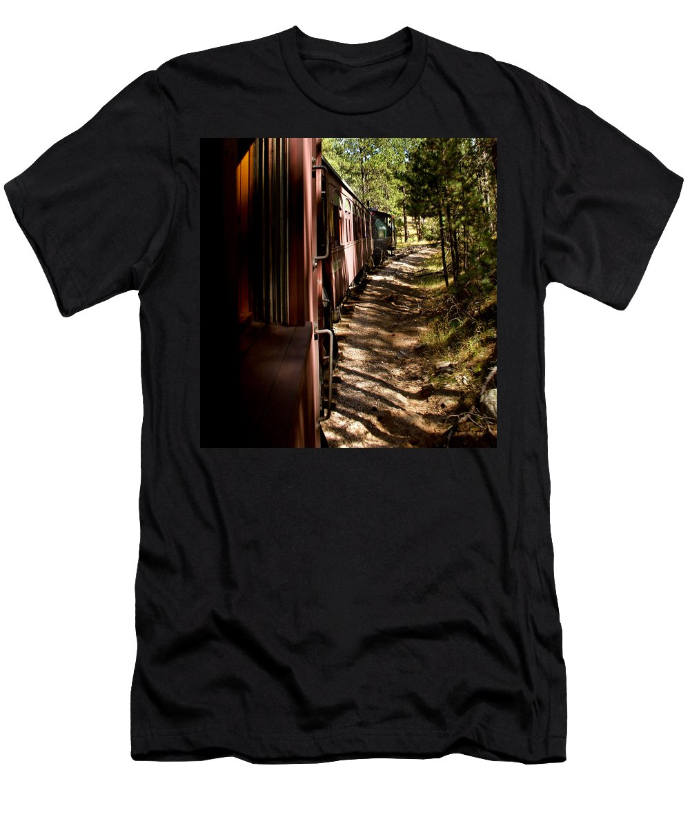 Mount Rushmore Men's T-Shirt (Athletic Fit) featuring the photograph Threw The Woods by Mike Oistad