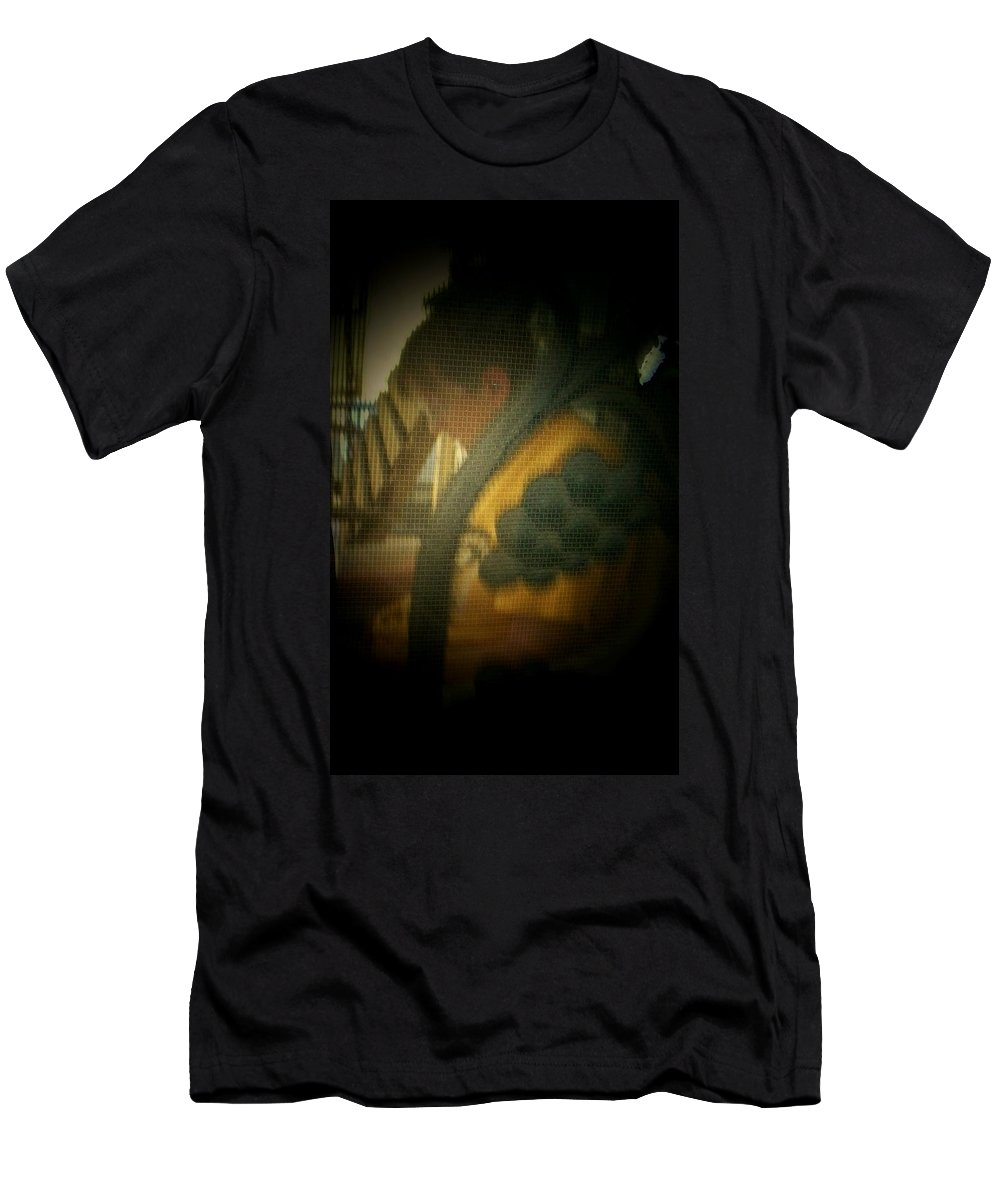 Abstract Men's T-Shirt (Athletic Fit) featuring the photograph Through The Screen Door by Lenore Senior