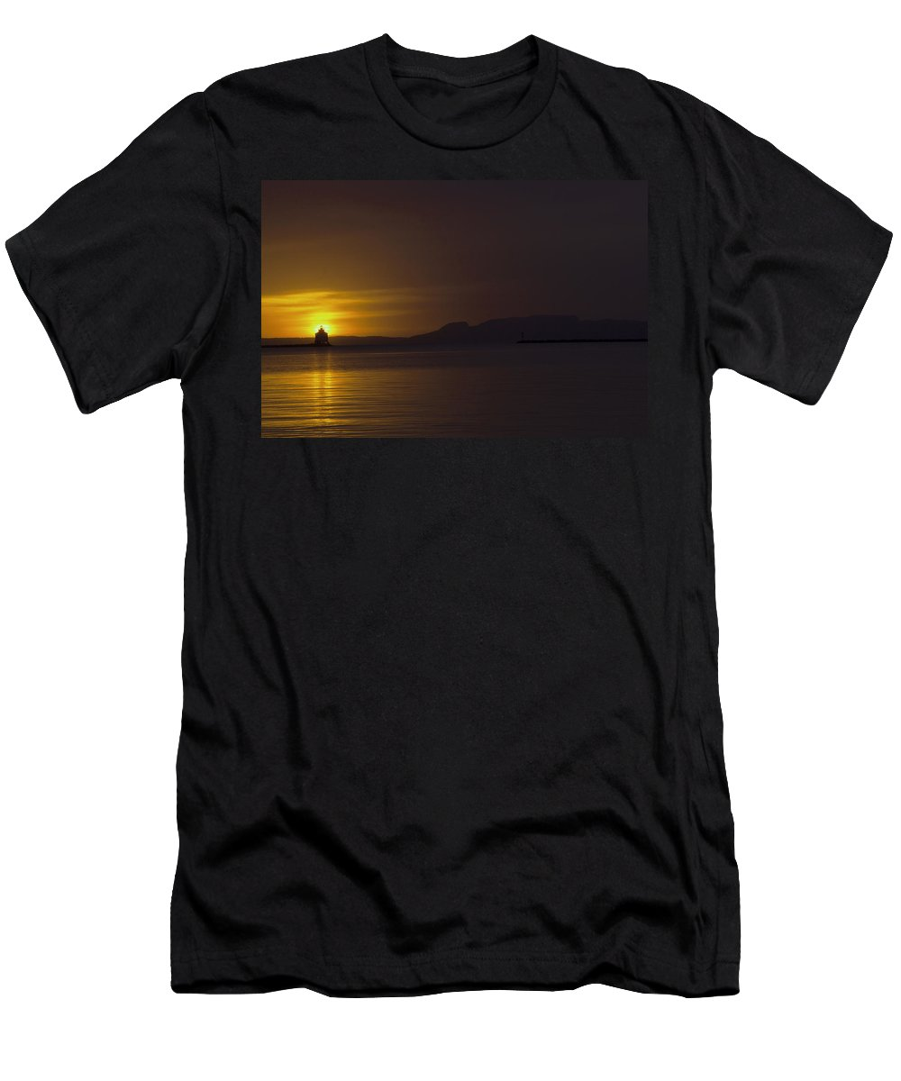 Sleeping Giant Silhouette Sunrise Light House Main Summer Waterfront Thunder Bay Ontario Canada Water Sun Waver Seagull Ducks Orange Red Black White Yellow Sunrays Hope Landscape Photography Clouds Warm Summers Day October 2015 Men's T-Shirt (Athletic Fit) featuring the photograph Thunder Bay Sunrise by Chris Artist