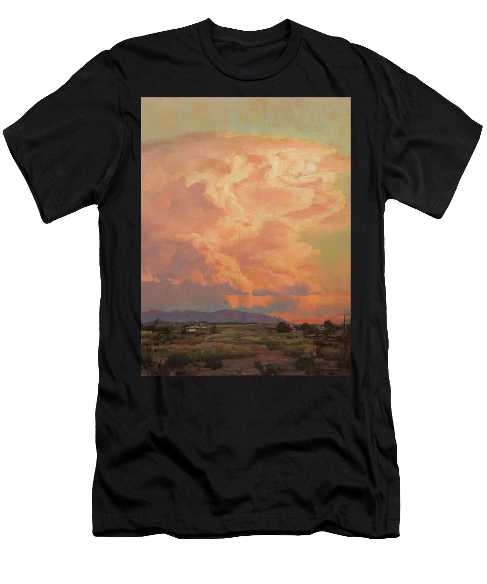 Desert Men's T-Shirt (Athletic Fit) featuring the painting Thunderheads by Charles Thomas Fine Art