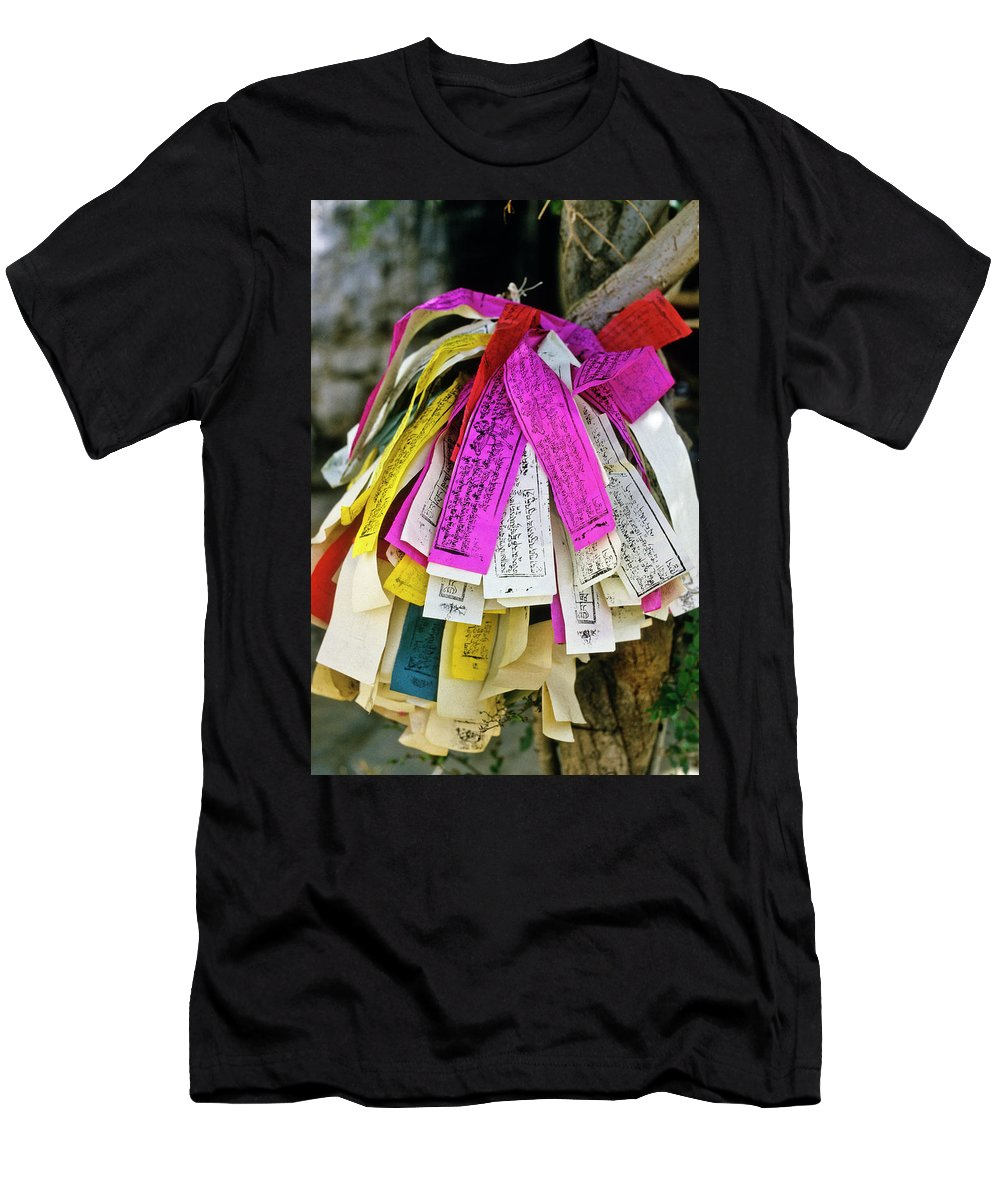 Tibet Men's T-Shirt (Athletic Fit) featuring the photograph Tibetan Prayer Flags by Michele Burgess