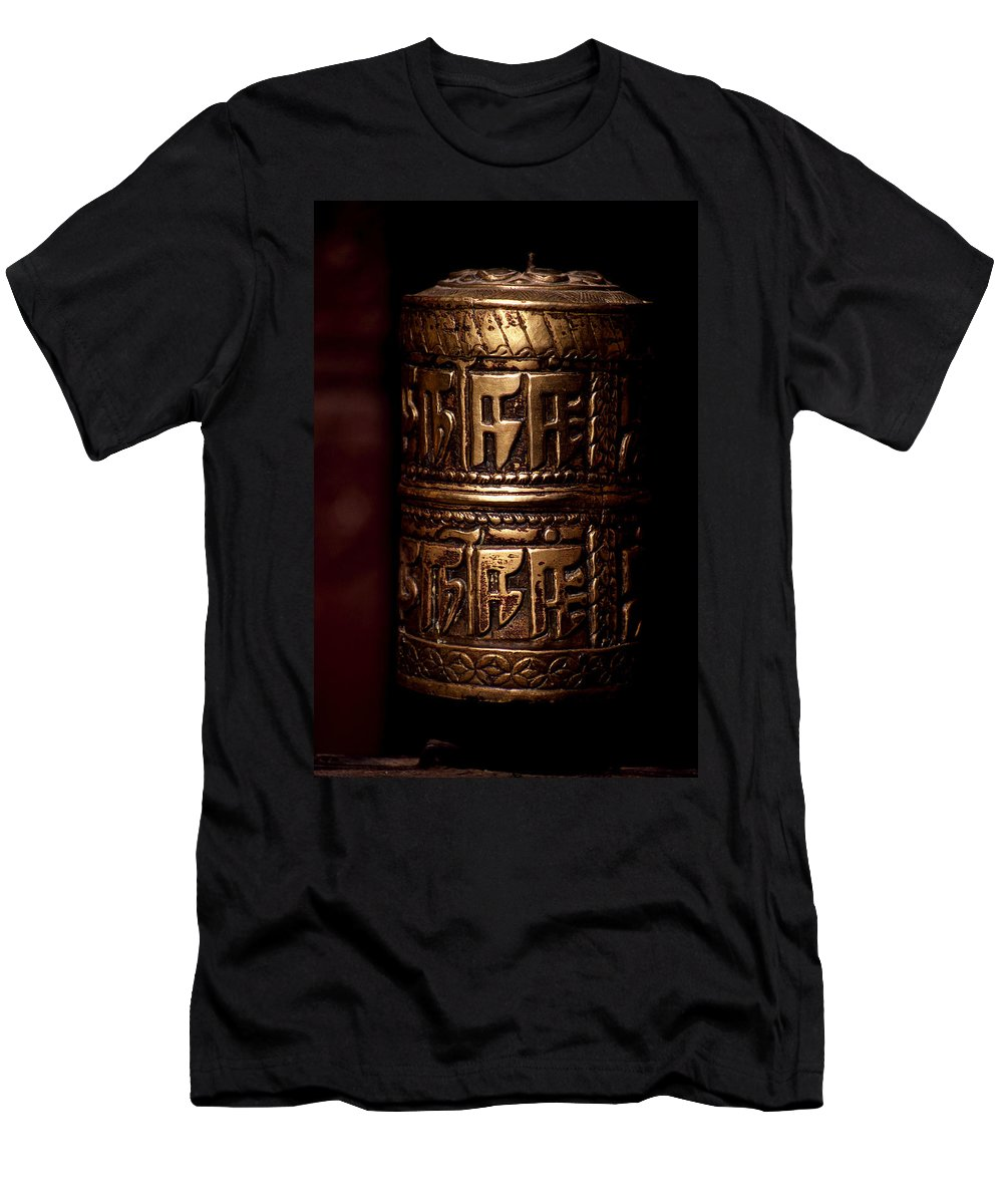 Prayer Wheel Men's T-Shirt (Athletic Fit) featuring the photograph Tibetan Prayer Wheel by Patrick Klauss