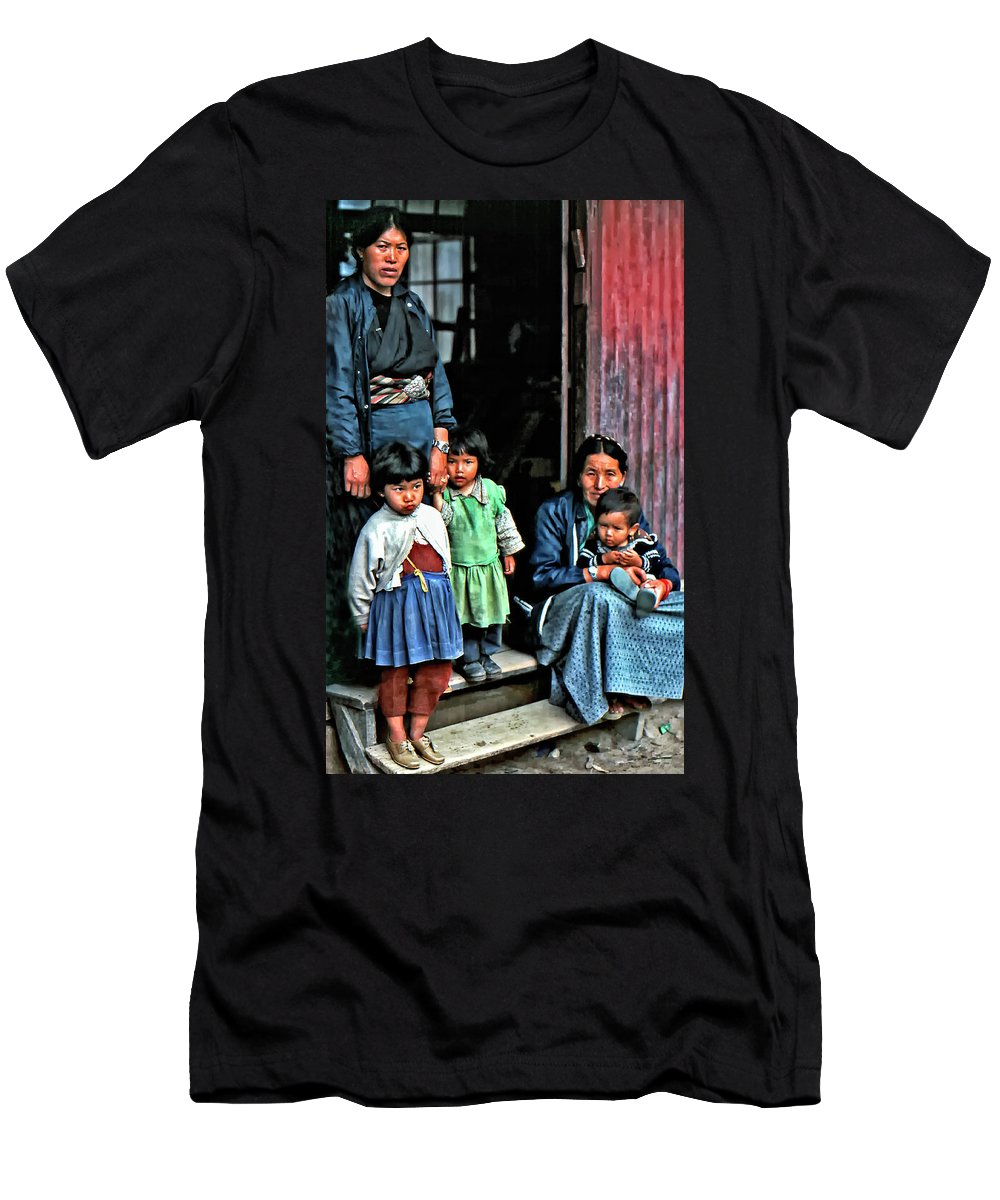 Darjeeling Men's T-Shirt (Athletic Fit) featuring the photograph Tibetan Refugees by Steve Harrington