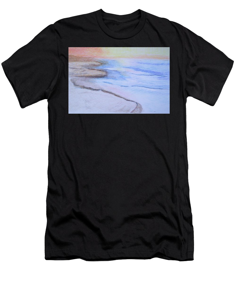 Landscape Men's T-Shirt (Athletic Fit) featuring the drawing Tide Is Out by Suzanne Udell Levinger