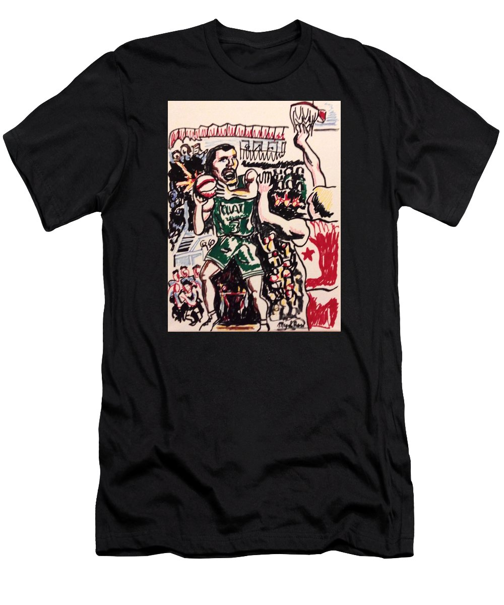 Basketball Men's T-Shirt (Athletic Fit) featuring the drawing Tiempo Limite by Miguel Romani
