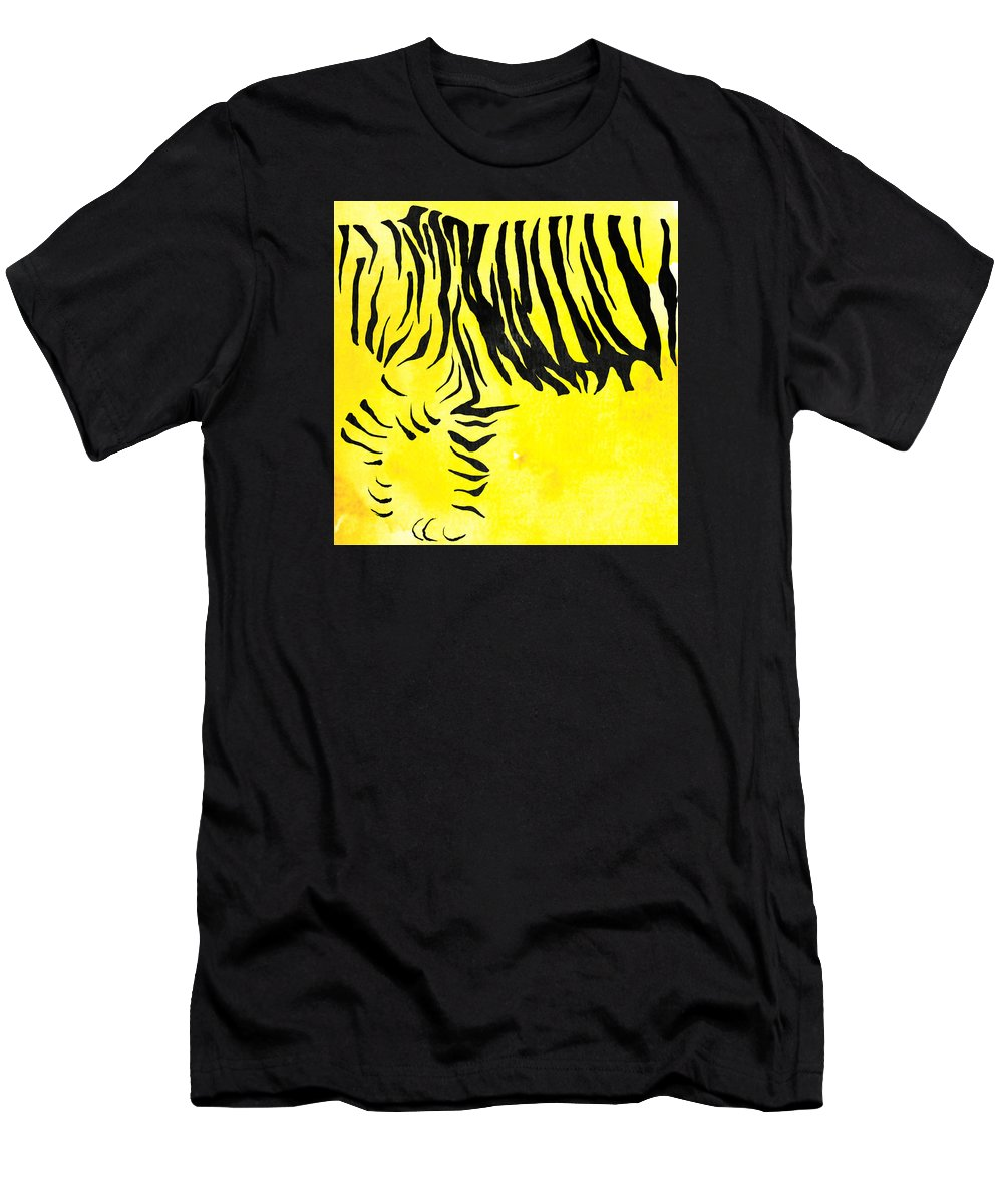 Tiger Men's T-Shirt (Athletic Fit) featuring the painting Tiger Animal Decorative Black And Yellow Poster 2 - By Diana Van by Diana Van