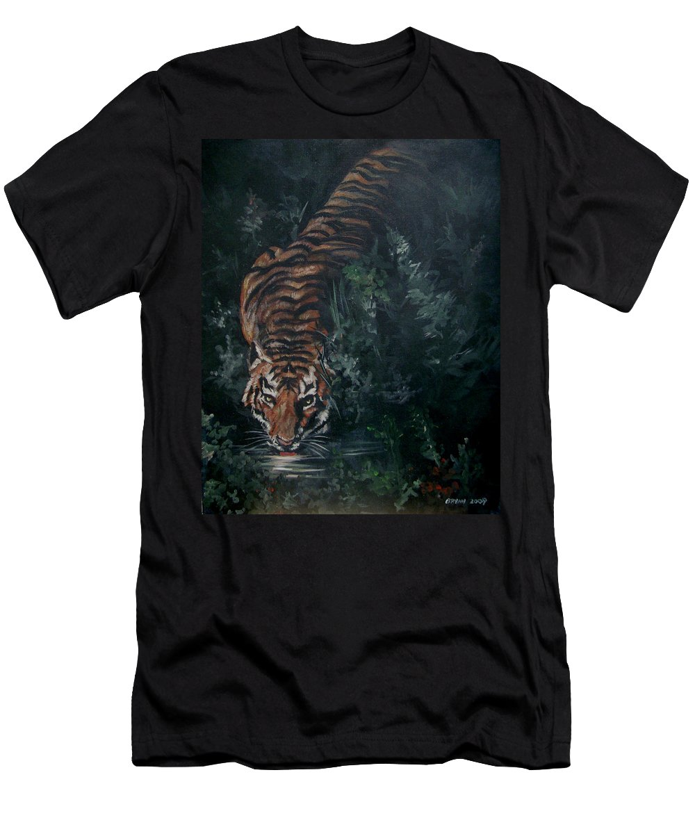 Tiger Men's T-Shirt (Athletic Fit) featuring the painting Tiger by Bryan Bustard