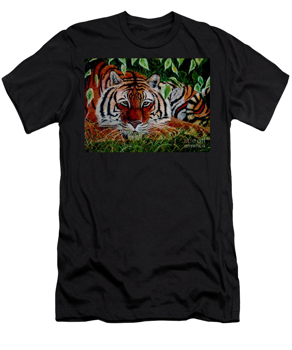 Tiger Men's T-Shirt (Athletic Fit) featuring the painting Tiger In Jungle by Nick Gustafson