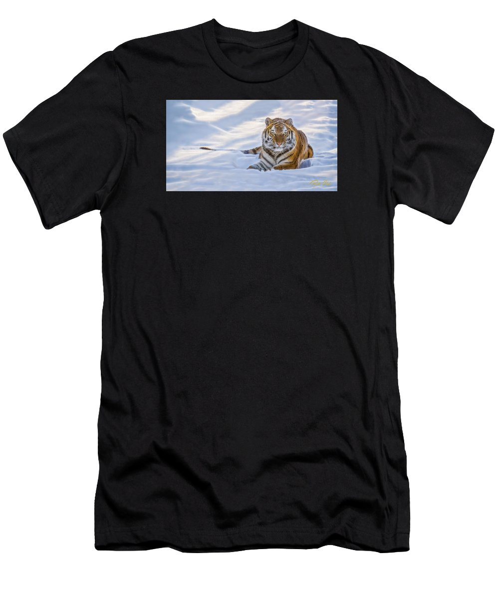 Animals Men's T-Shirt (Athletic Fit) featuring the photograph Tiger In The Snow by Rikk Flohr