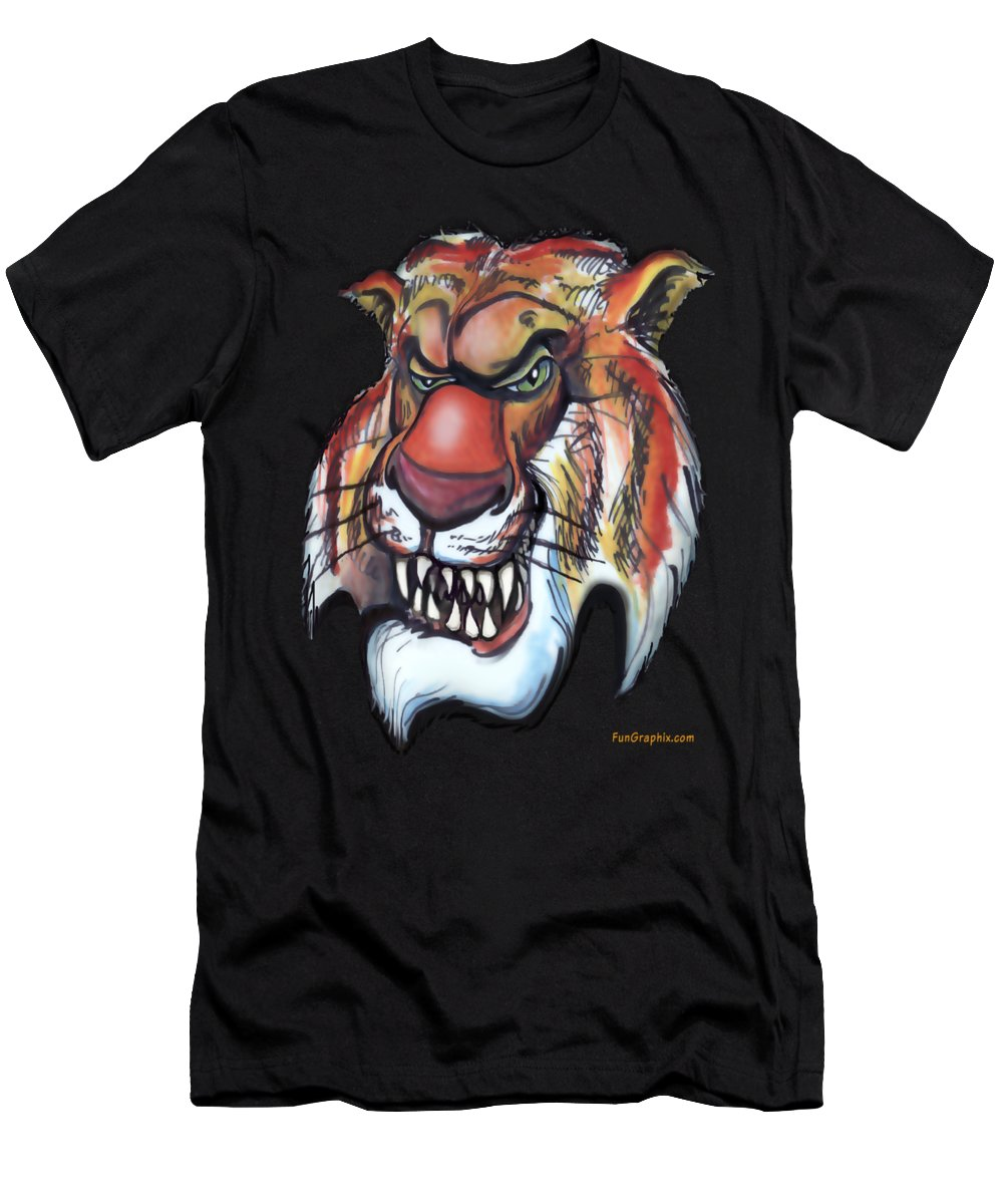 Tiger Men's T-Shirt (Athletic Fit) featuring the painting Tiger by Kevin Middleton