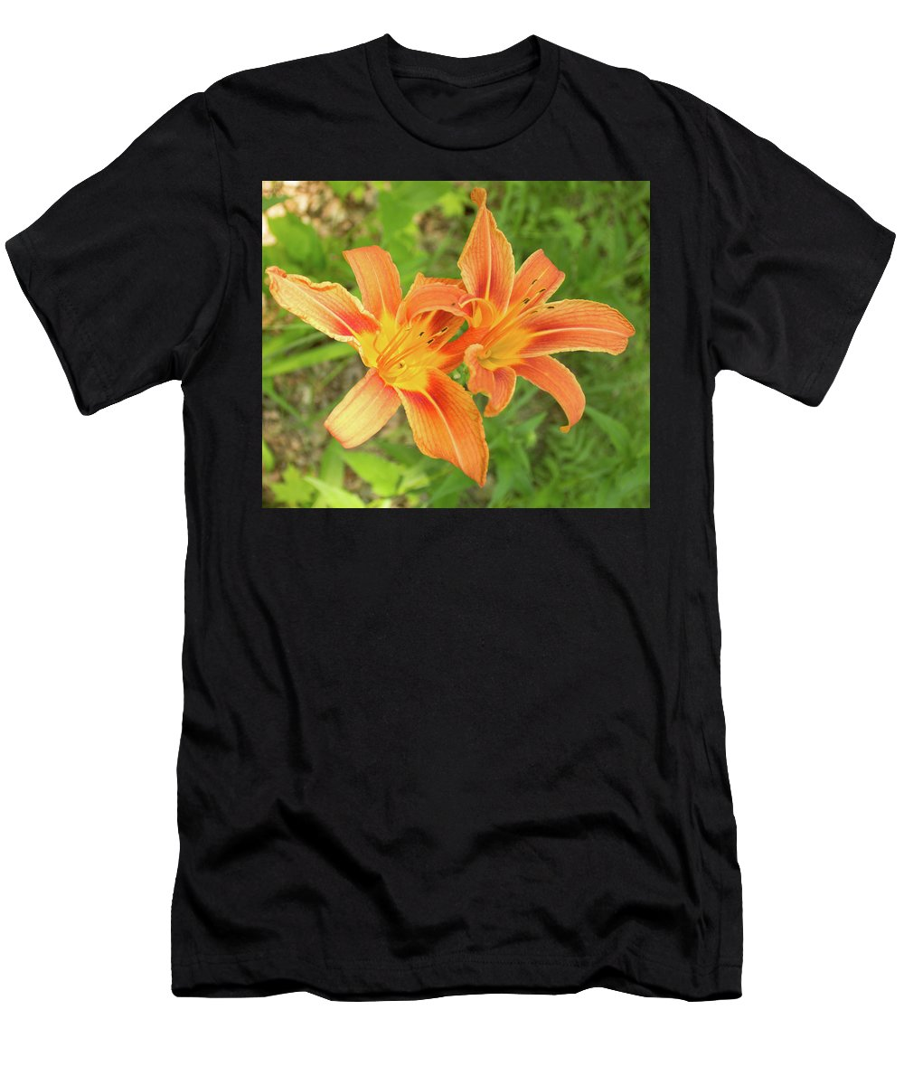 Tiger Lily Men's T-Shirt (Athletic Fit) featuring the photograph Tiger Lilies by Lori Lynn Sadelack