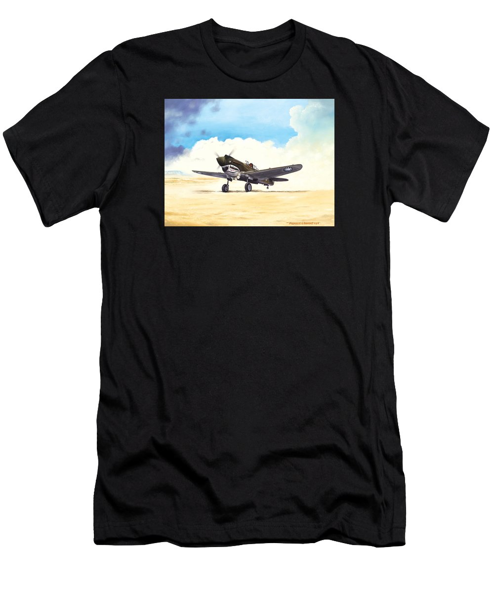 Aviation Men's T-Shirt (Athletic Fit) featuring the painting Tiger Scramble by Marc Stewart