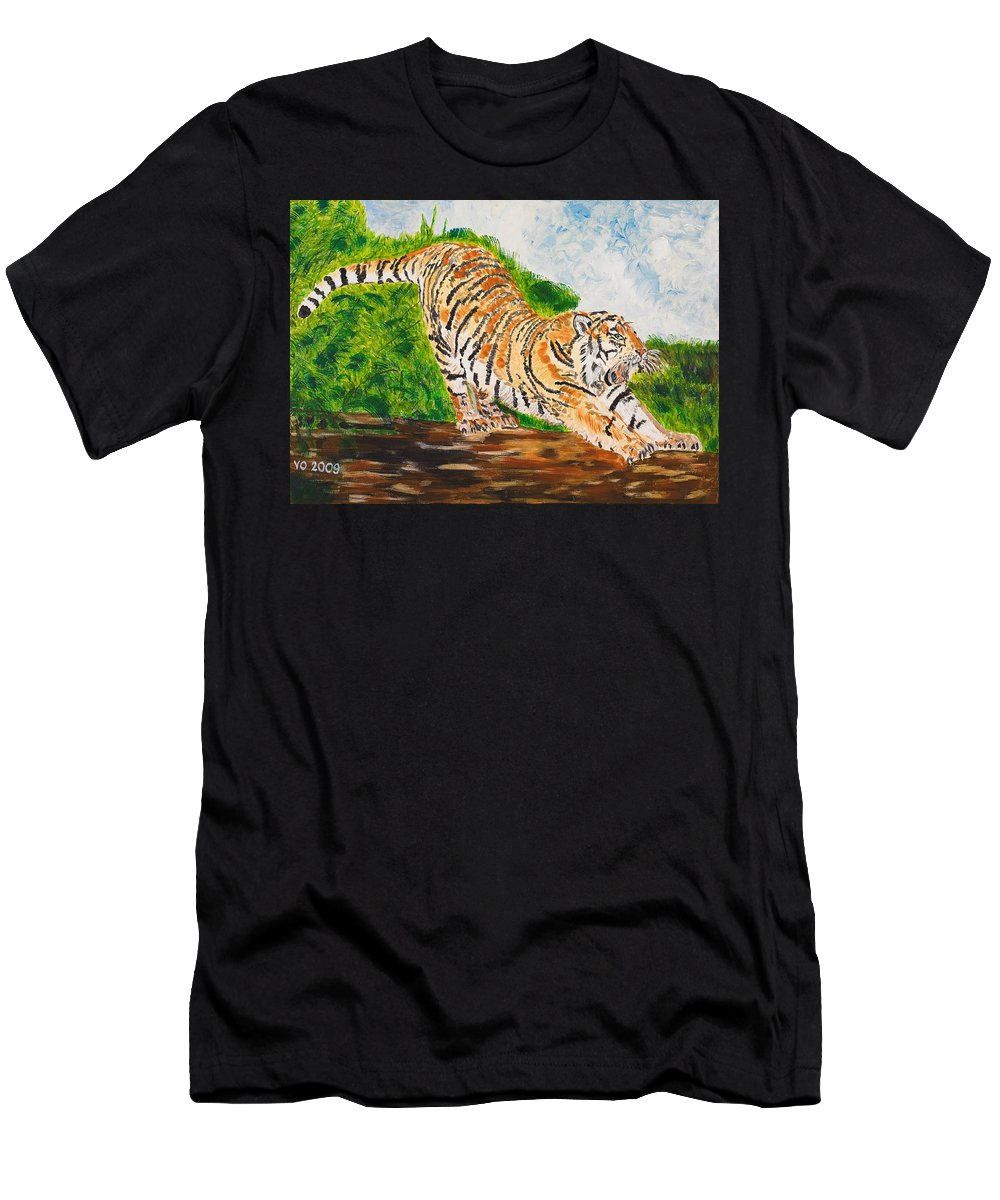 Cat Men's T-Shirt (Athletic Fit) featuring the painting Tiger Stretching by Valerie Ornstein