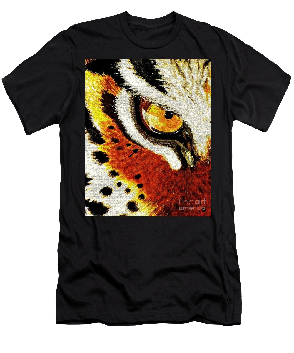 Tiger Men's T-Shirt (Athletic Fit) featuring the painting Tiger's Eye by Saundra Myles