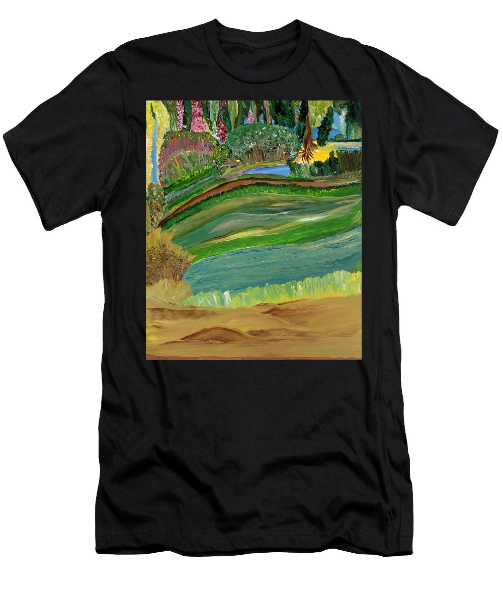 Landscape Men's T-Shirt (Athletic Fit) featuring the painting Tight Knit Community by Sara Credito
