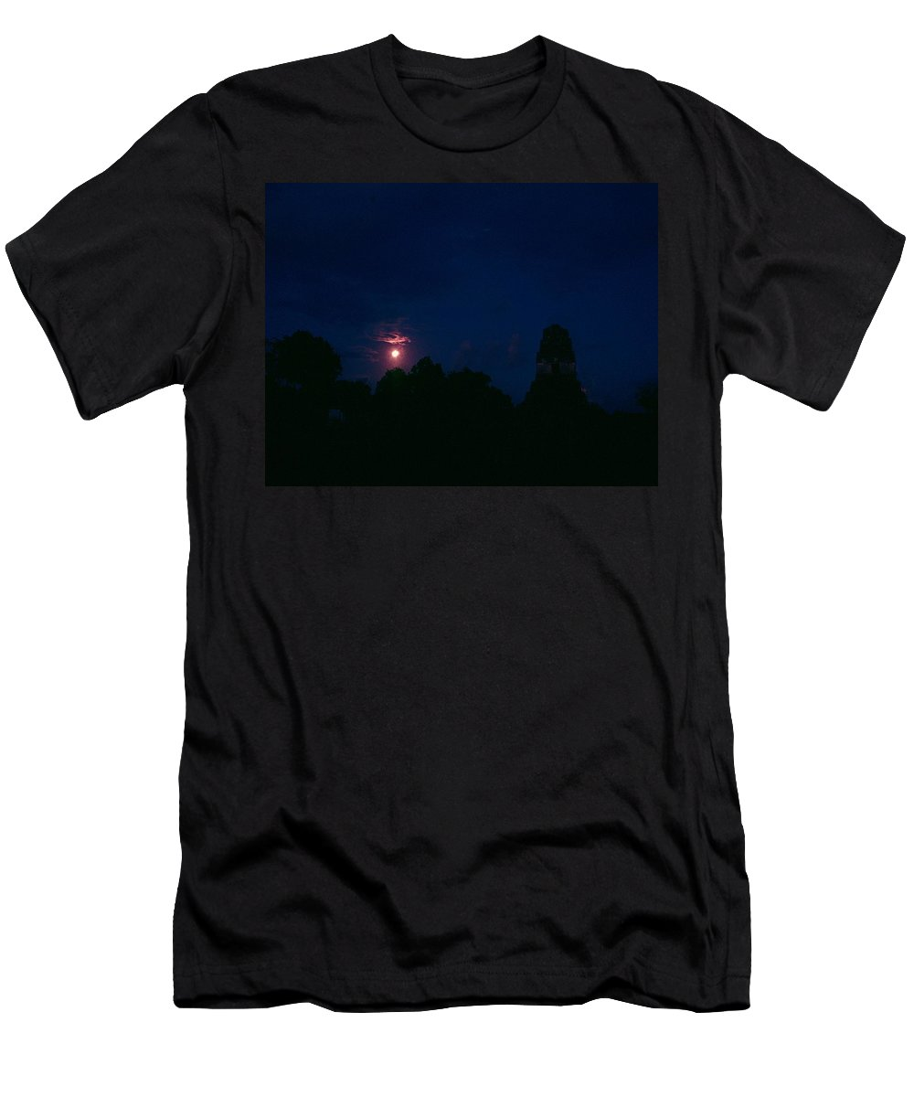 Tikal Men's T-Shirt (Athletic Fit) featuring the photograph Tikal Guatemala Full Moon by Gary Wonning