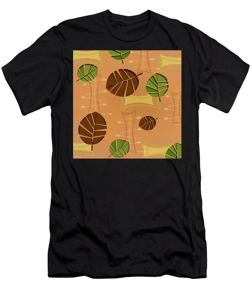 Tiki Men's T-Shirt (Athletic Fit) featuring the painting Tiki Lounge Wallpaper Pattern by Little Bunny Sunshine