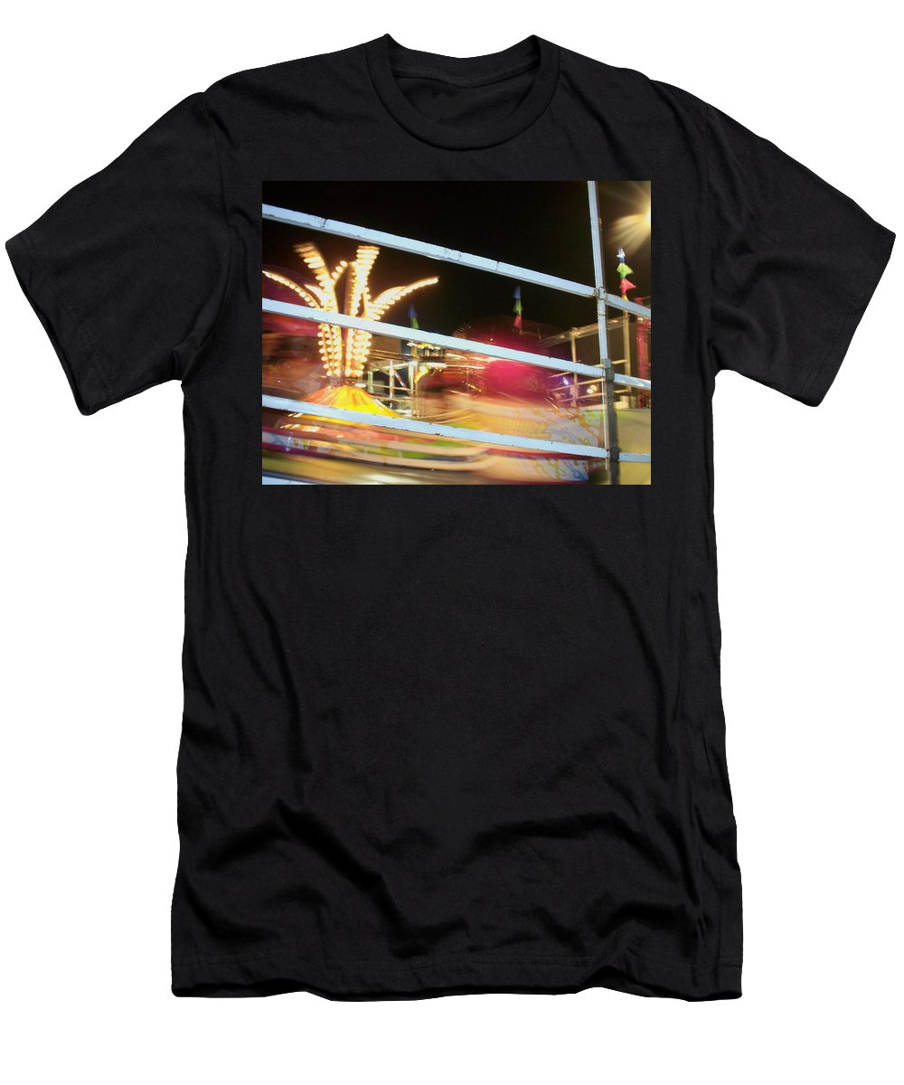 State Fair Men's T-Shirt (Athletic Fit) featuring the photograph Tilt-a-whirl 2 by Anita Burgermeister