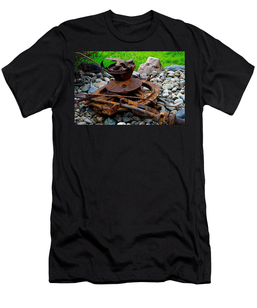 Rust Men's T-Shirt (Athletic Fit) featuring the photograph Timber Gears Built The West by Michele Avanti
