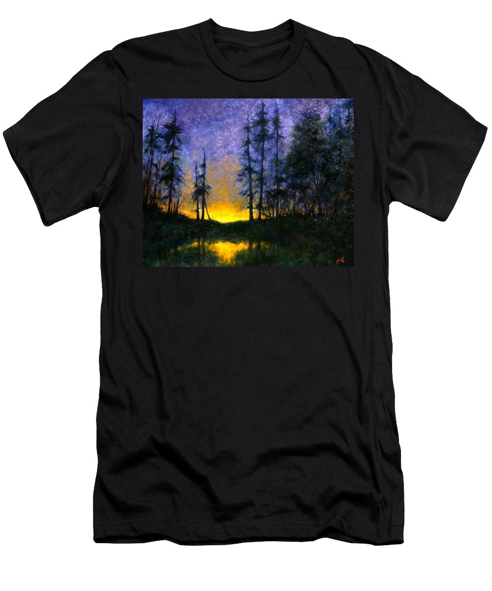 Landscape. Nocturn Men's T-Shirt (Athletic Fit) featuring the painting Timberline by Jim Gola