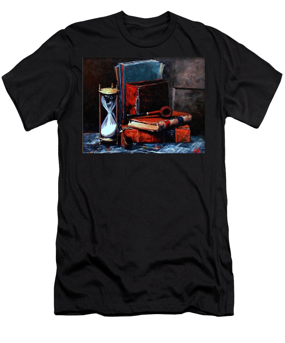 Still Life Painting Men's T-Shirt (Athletic Fit) featuring the painting Time And Old Friends by Jim Gola