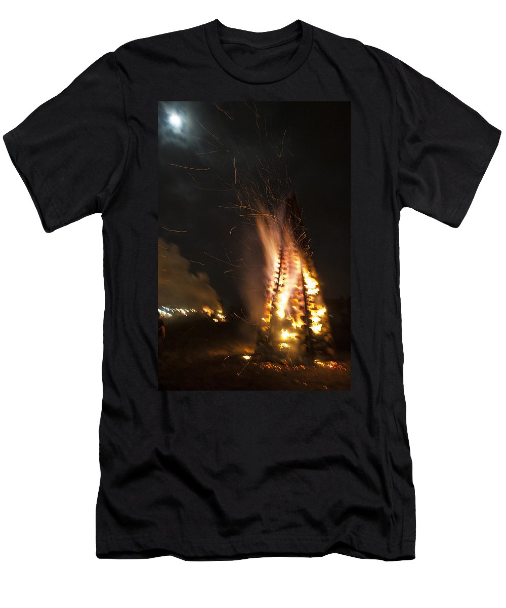 Bonfire Men's T-Shirt (Athletic Fit) featuring the photograph Time To Burn by Mykel Davis