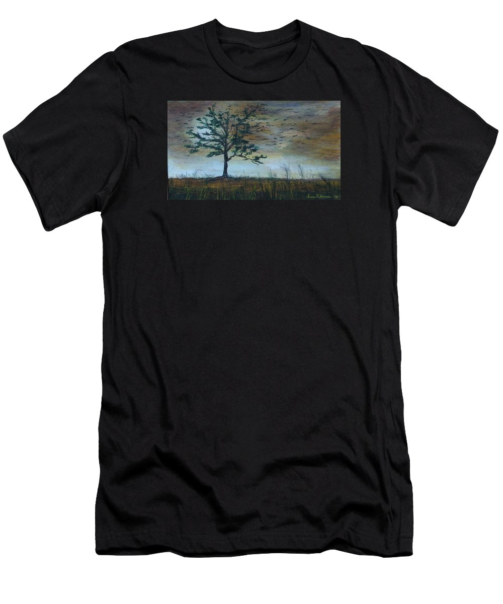 Landscape Men's T-Shirt (Athletic Fit) featuring the painting Time To Fly Away - Sold by Vivan Robinson