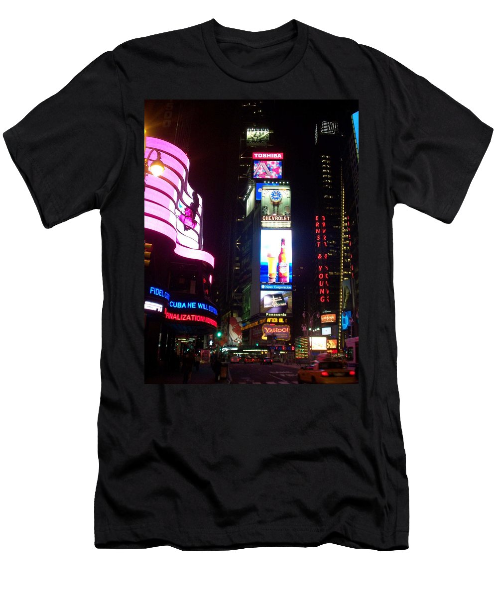 Times Square Men's T-Shirt (Athletic Fit) featuring the photograph Times Square 1 by Anita Burgermeister