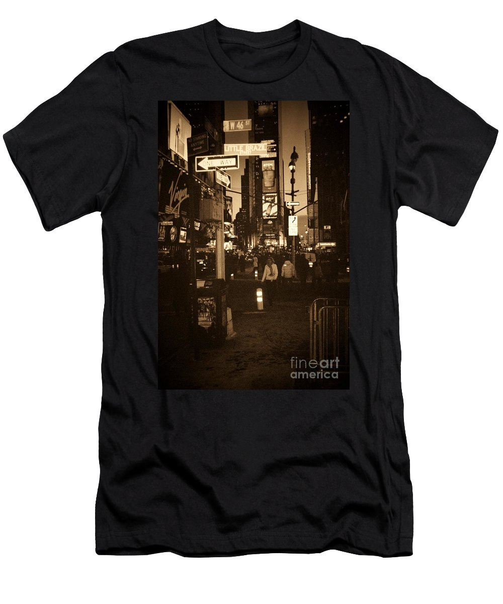 New York Men's T-Shirt (Athletic Fit) featuring the photograph Times Square by Debbi Granruth