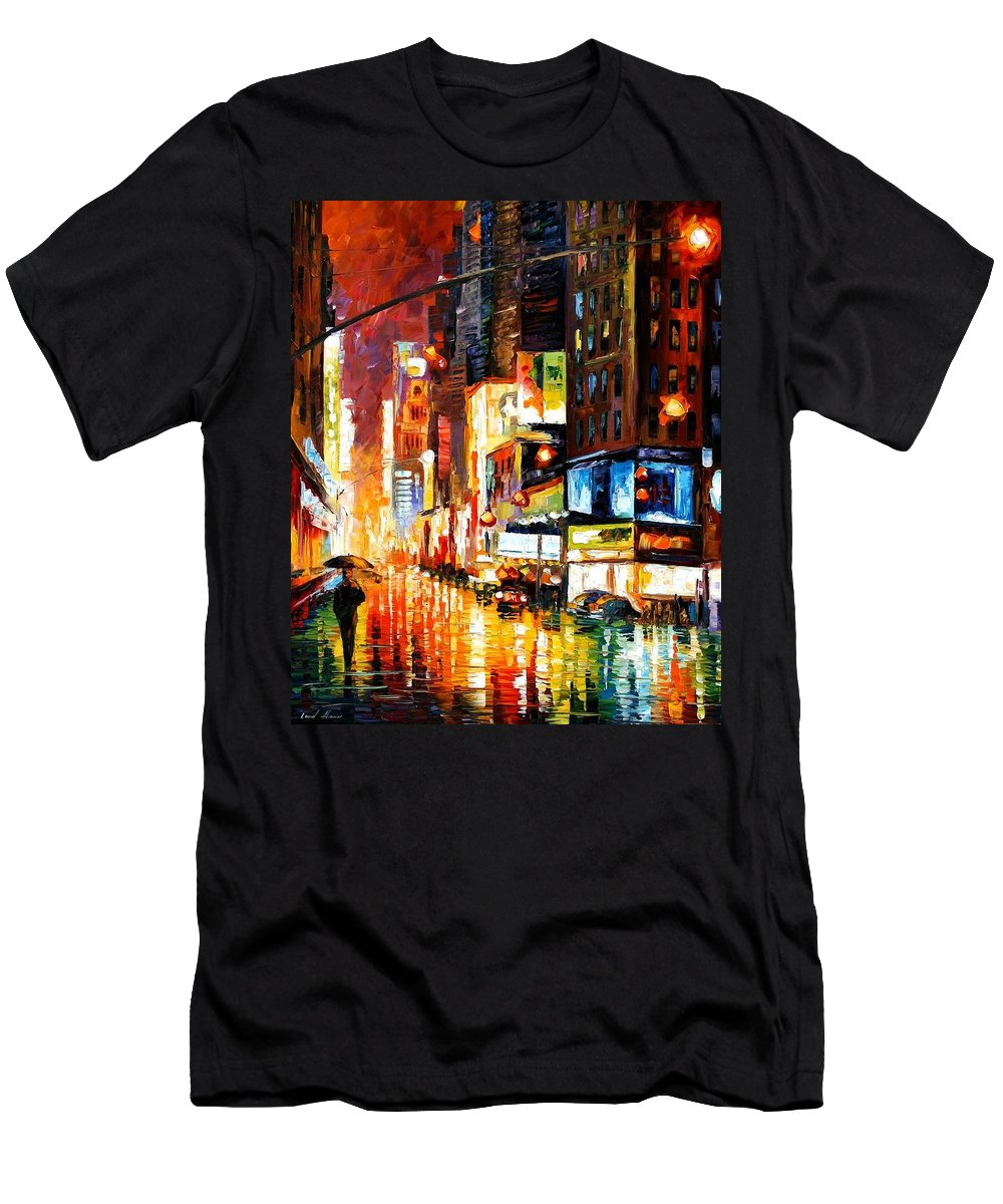 City Men's T-Shirt (Athletic Fit) featuring the painting Times Square by Leonid Afremov