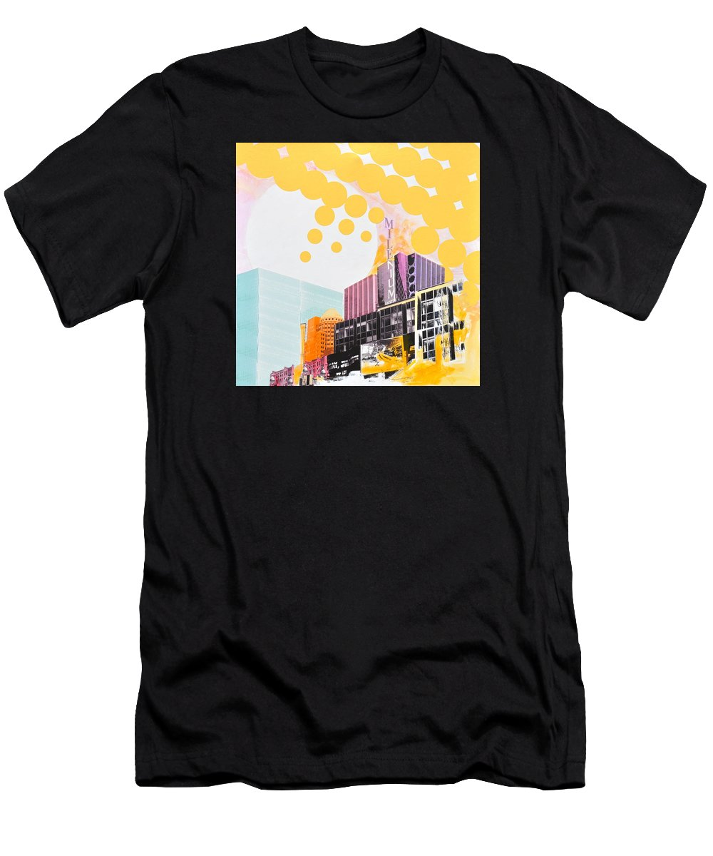 Ny Men's T-Shirt (Athletic Fit) featuring the painting Times Square Milenium Hotel by Jean Pierre Rousselet