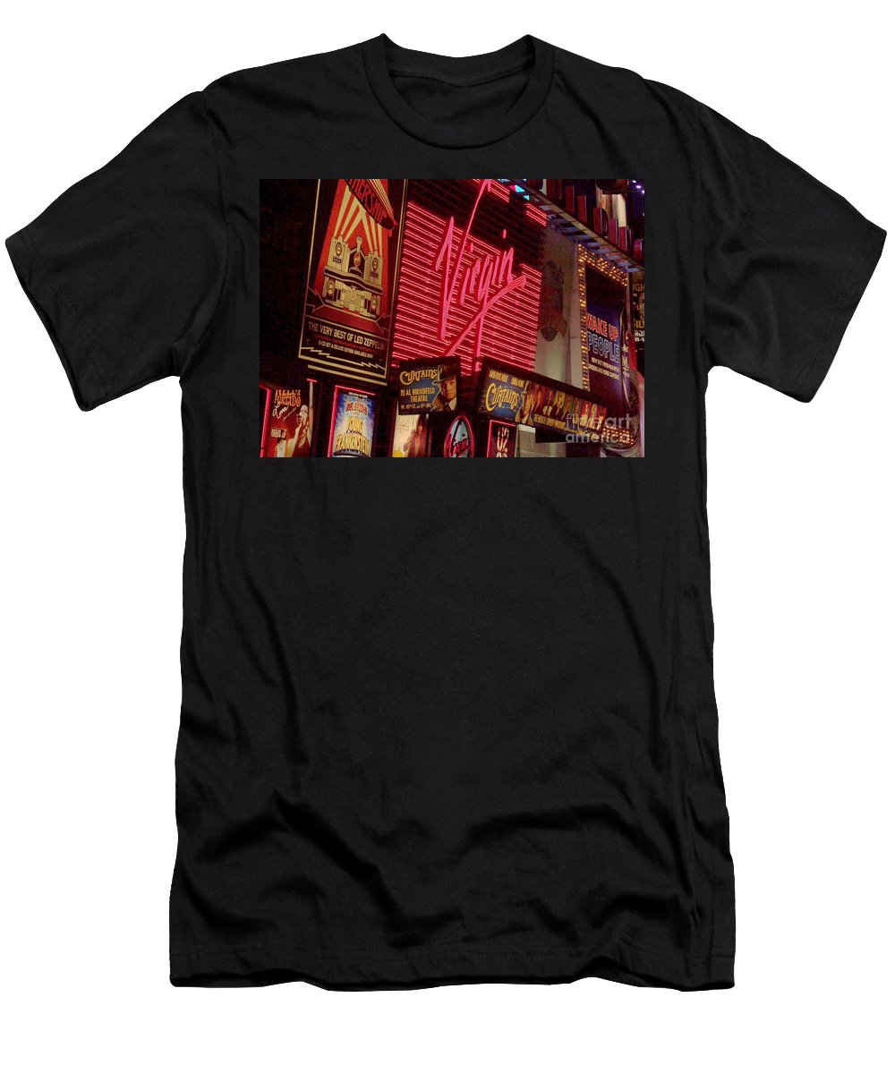 Times Square Men's T-Shirt (Athletic Fit) featuring the photograph Times Square Night by Debbi Granruth