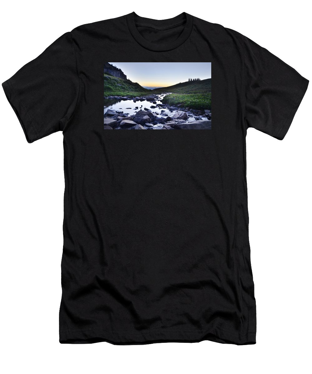 Timpanogos Men's T-Shirt (Athletic Fit) featuring the photograph Timpanogos Stream by Tara Roberts
