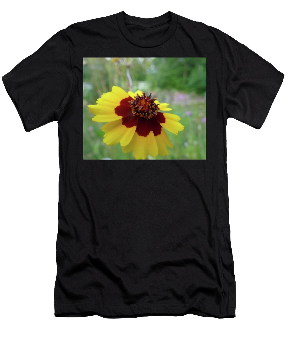 Flower Men's T-Shirt (Athletic Fit) featuring the photograph Tiny Yellow Flower by Robyn Greaves