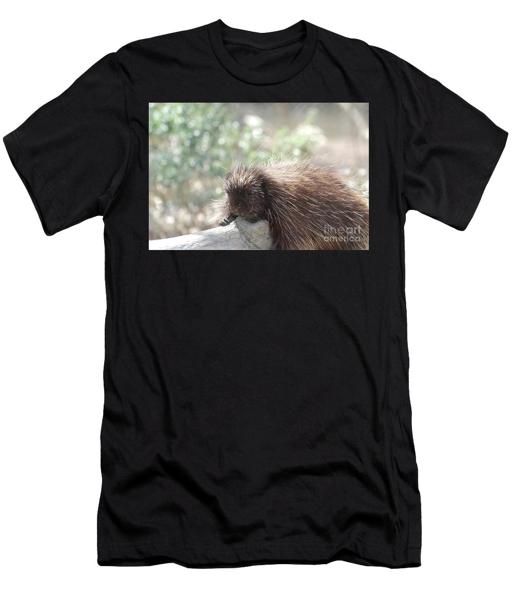 Porcupine Men's T-Shirt (Athletic Fit) featuring the photograph Tired Porcupine On A Fallen Log by DejaVu Designs