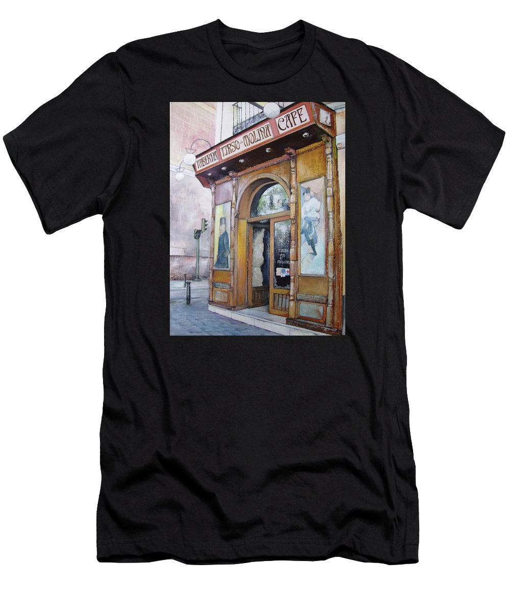 Tirso T-Shirt featuring the painting Tirso De Molina Old Tavern by Tomas Castano