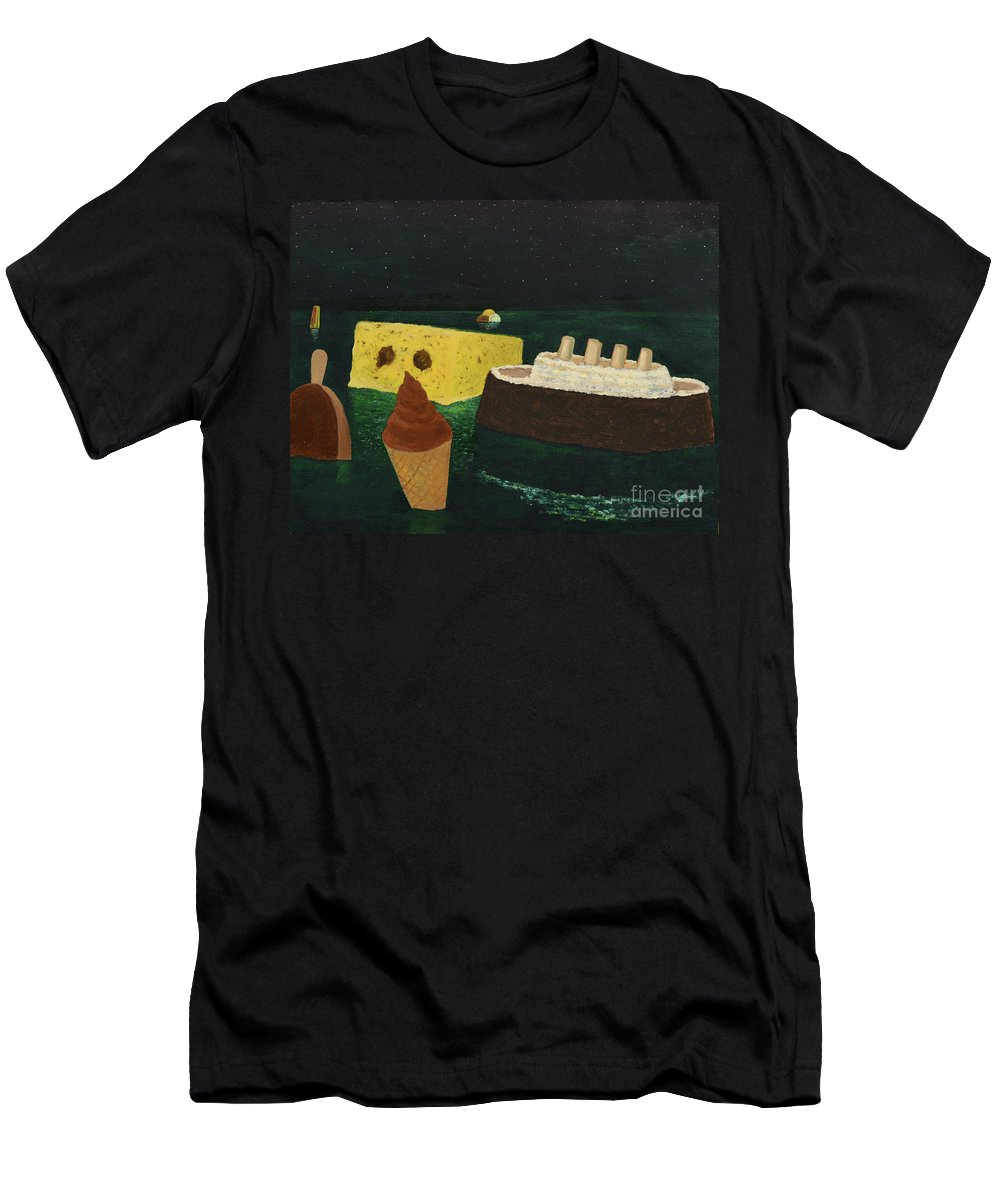 Titanic Men's T-Shirt (Athletic Fit) featuring the painting Titanic's Birthday by Oleg Konin
